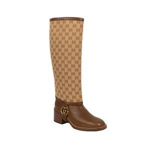 GUCCI Leather Lola GG Gaiter Knee High Boots 7/37